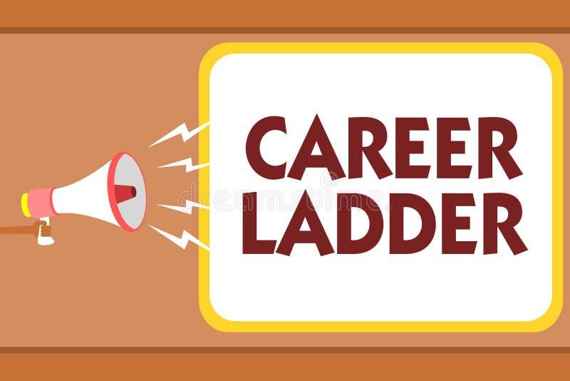 Skriva stegen för anmärkningsvisningkarriär Affärsfoto som ställer ut hol för man för Job Promotion Professional Progress Upward  vektor illustrationer