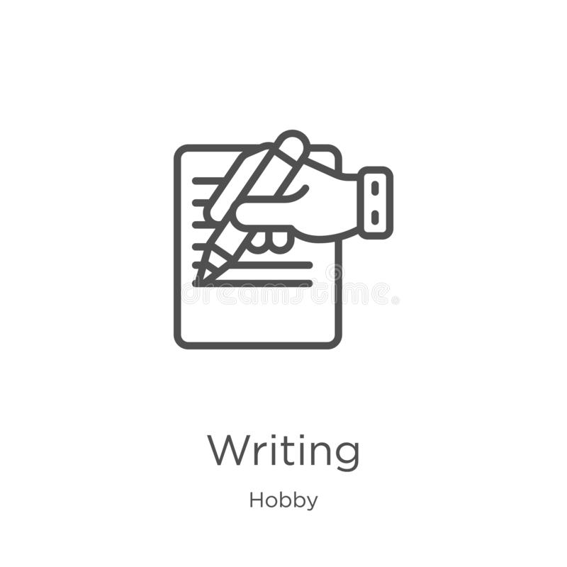 skriva symbolsvektorn från hobbysamling Tunn linje illustration f?r vektor f?r handstil?versiktssymbol Översikt tunn linje handst royaltyfri illustrationer