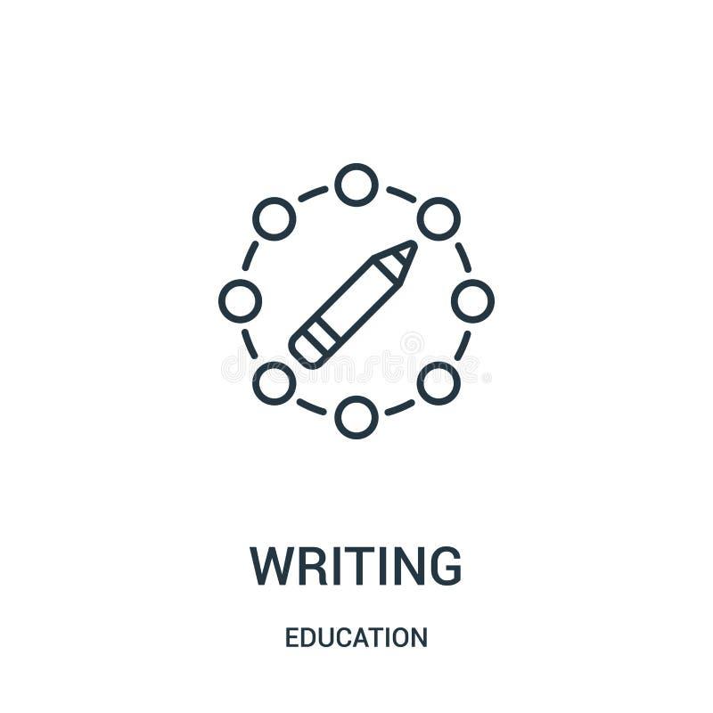 skriva symbolsvektorn från utbildningssamling Tunn linje illustration f?r vektor f?r handstil?versiktssymbol vektor illustrationer