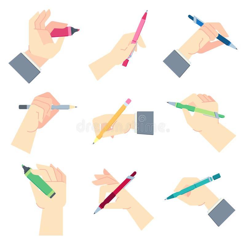 Skriva tillbeh?r i h?nder Pennan i aff?rsmanhand, skriver p? pappersark- eller notepad- och handgestvektor vektor illustrationer