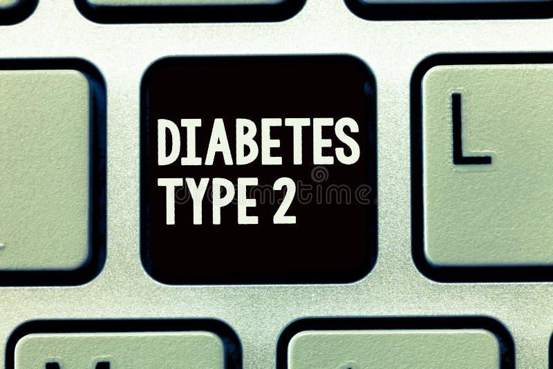 Skriva typ för anmärkningsvisningsockersjuka - 2 Affärsfoto som ställer ut villkoret som kroppen inte använder insulin riktigt arkivfoton