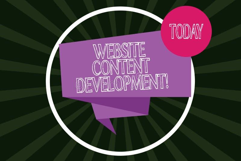 Skriva utveckling för innehåll för anmärkningsvisningWebsite Affärsfoto som ställer ut process av att utfärda information som avl royaltyfri illustrationer