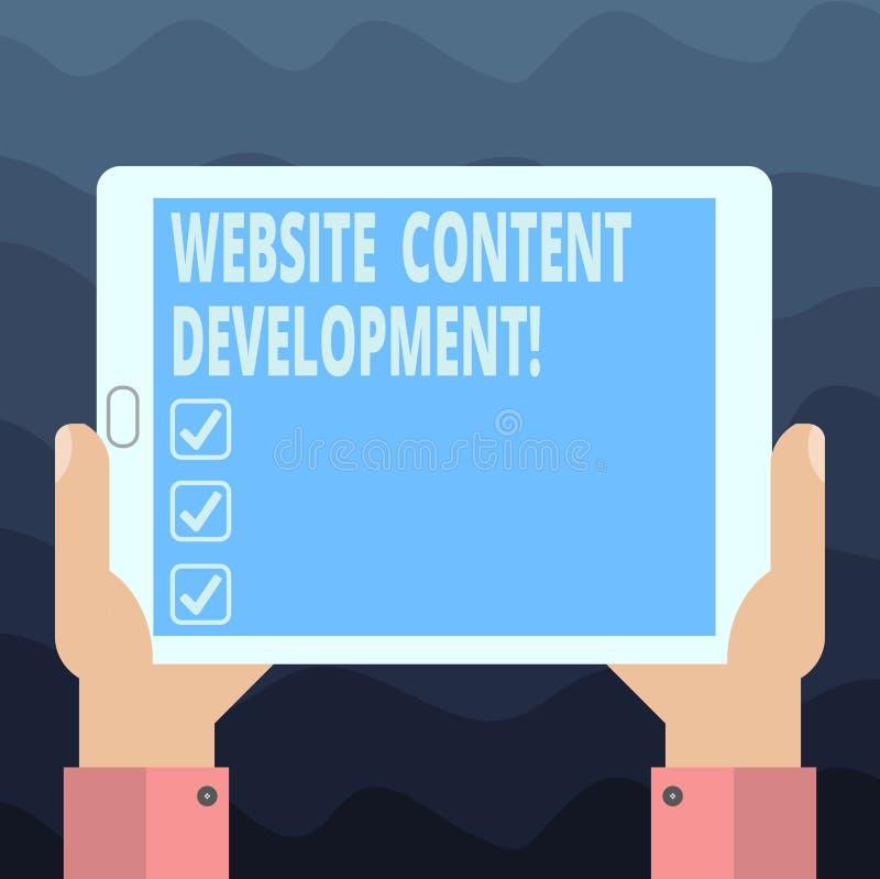 Skriva utveckling för innehåll för anmärkningsvisningWebsite Affärsfoto som ställer ut process av att utfärda information som avl vektor illustrationer