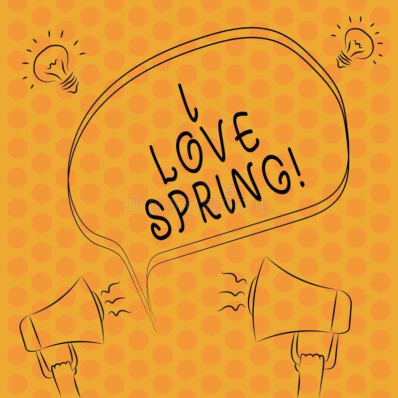 Skriva våren för anmärkningsshowingIförälskelse Affärsfoto som ställer ut affektion för säsong av året var det finns lotten av fr stock illustrationer