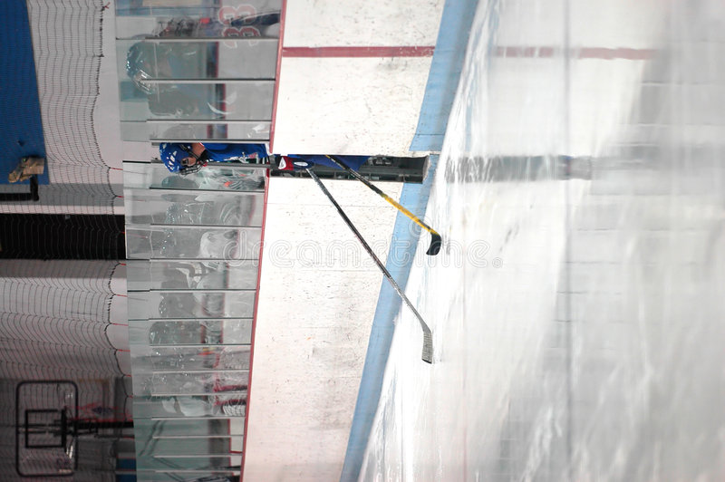 skrivande in hockeyisisbana arkivfoto