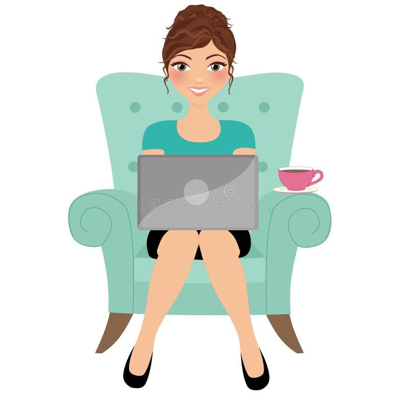 skrivande kvinna för bärbar dator royaltyfri illustrationer