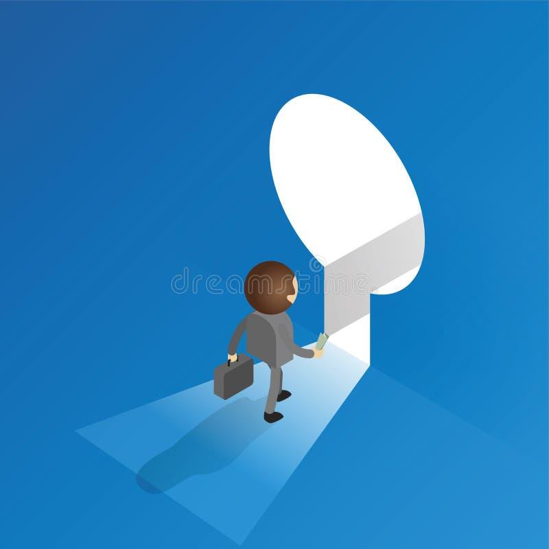 Skrivande in nyckelhål för affärsman vektor illustrationer