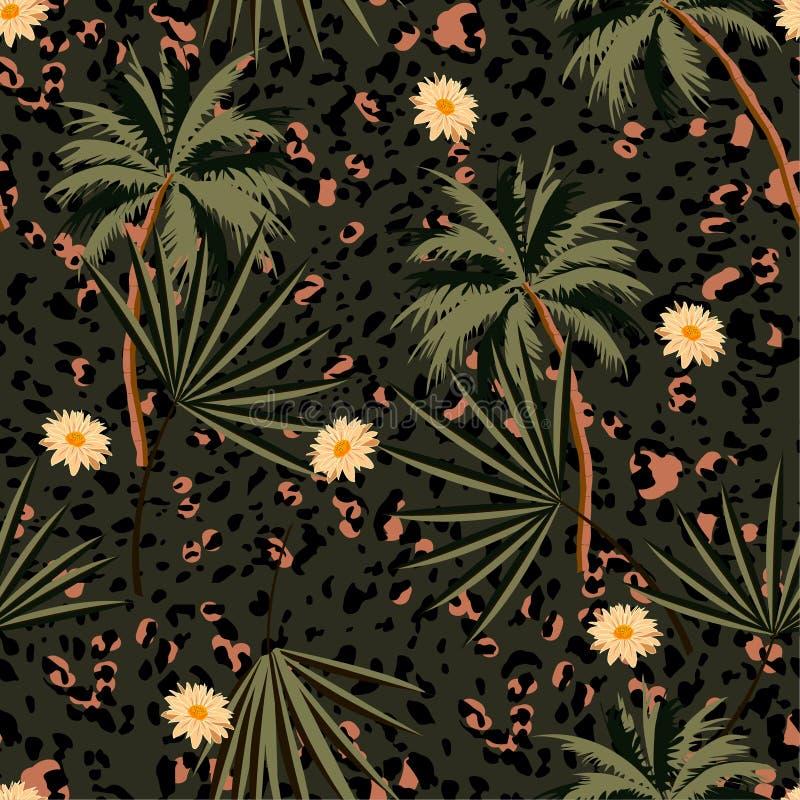 Skrivar det sömlösa djuret ut för tappning modellen med tropiska växter och leopardtryck Vektorillustrationdesign för mode, tyg, vektor illustrationer