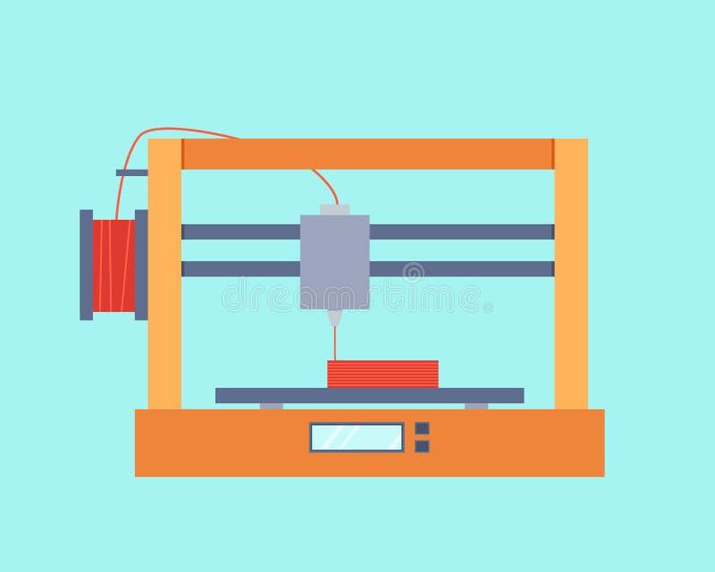 skrivare 3D stock illustrationer