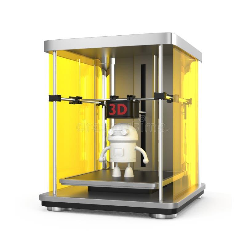 skrivare 3D och utskrivaven robotmodell royaltyfri illustrationer