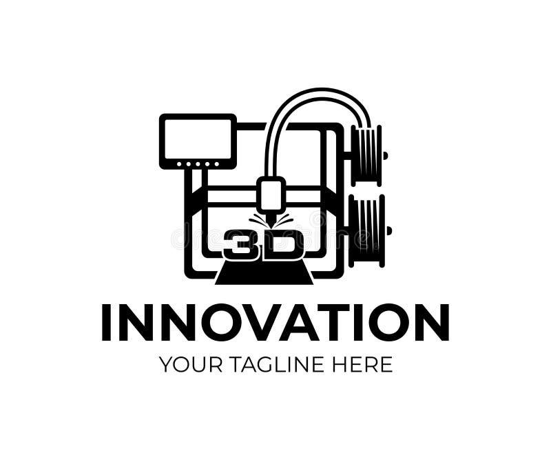 skrivare 3D, teknologi och innovation, logodesign Elektronisk tredimensionell plast- skrivare, fabriks- automation som är mechan royaltyfri illustrationer