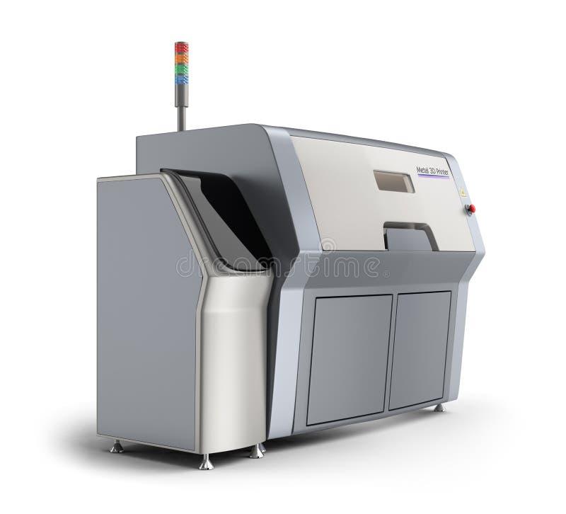 Skrivare för metall som 3D isoleras på vit bakgrund stock illustrationer