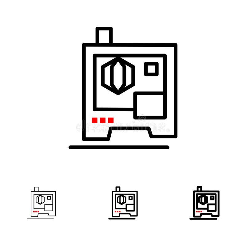 Skrivare, utskrift, 3d, satt en klocka på och tunn svart linje symbolsuppsättning för bildläsare vektor illustrationer