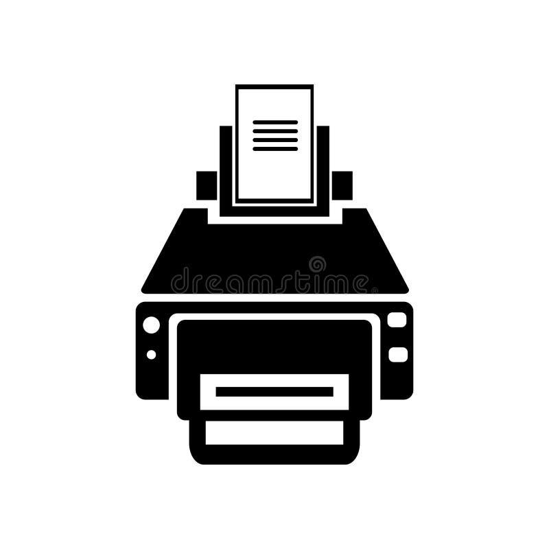 Skrivaren med trycket och papper täcker symbolsvektortecknet och symbol vektor illustrationer