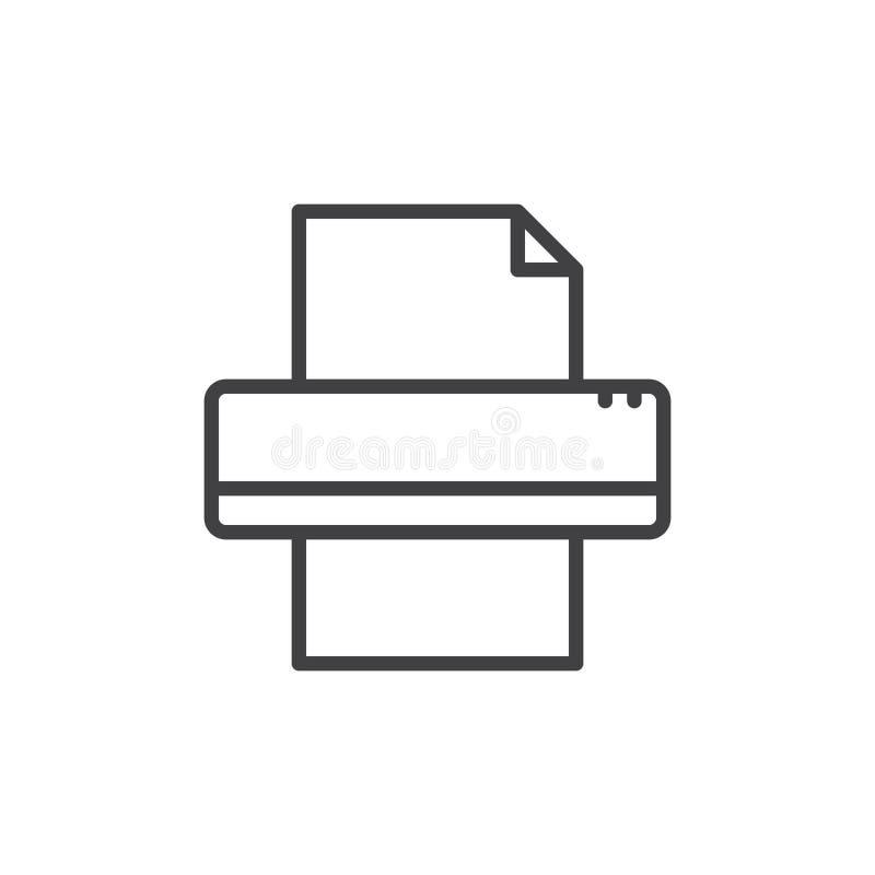 Skrivarlinje symbol, översiktsvektortecken, linjär stilpictogram som isoleras på vit vektor illustrationer