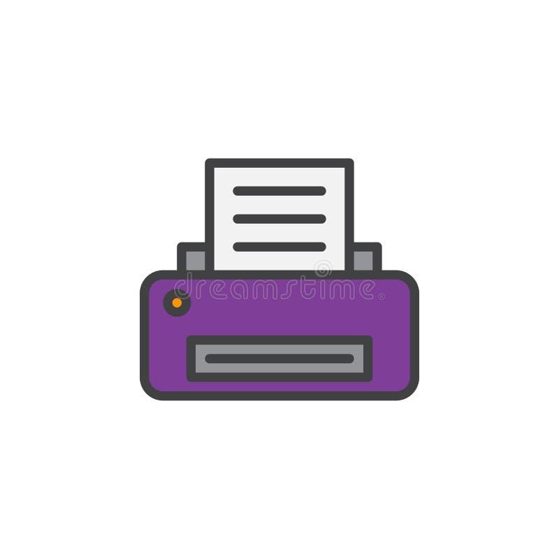 Skrivarlinje symbol, fyllt översiktsvektortecken, linjär färgrik pictogram som isoleras på vit stock illustrationer