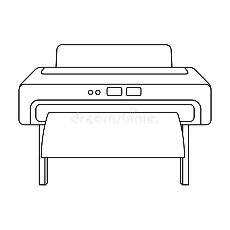 Skrivarsymbol för stort format i översiktsstil som isoleras på vit bakgrund Illustration för vektor för typografisymbolmateriel royaltyfri illustrationer