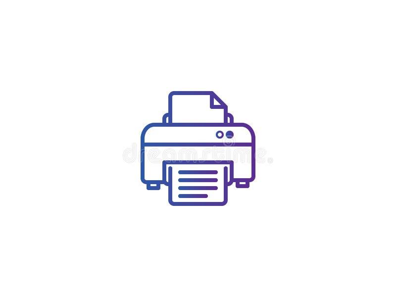 Skrivarsymbolsymbol för trycköversikt för PIXEL perfekt elektrisk linje illustratio för stilmallvektor stock illustrationer