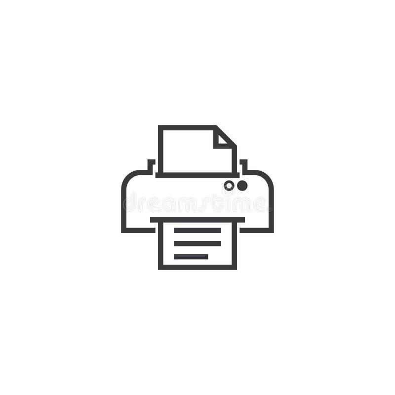 Skrivarsymbolsymbol perfekt översiktslinje stilmall för PIXEL royaltyfri illustrationer