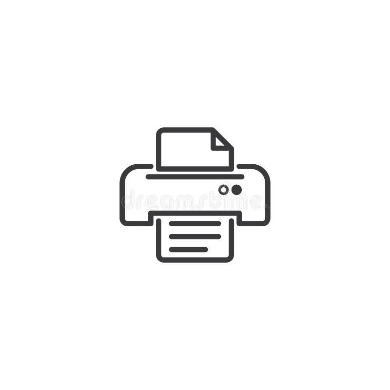 Skrivarsymbolsymbol perfekt översiktslinje stilmall för PIXEL vektor illustrationer