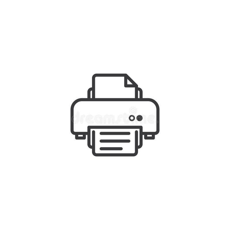 Skrivarsymbolsymbol perfekt översiktslinje stilmall för PIXEL stock illustrationer