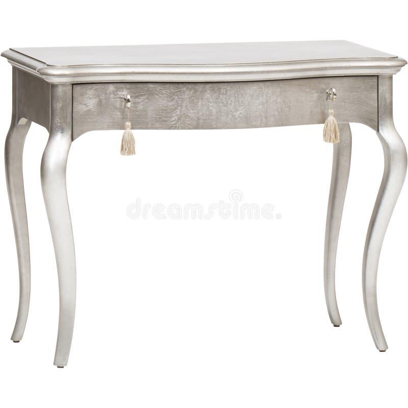 Skrivbord enkla Pier Desk Dove Gray With för skrivbords- enhet en för enhet för attraktion för lampa 7 för inrikesdepartementet-  royaltyfria foton