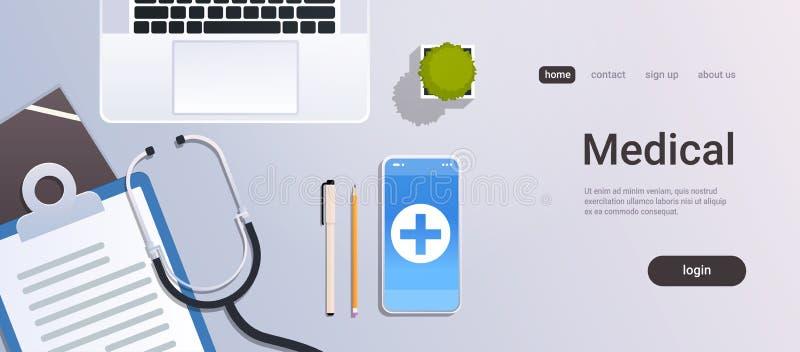 Skrivbord för arbetsplats för doktor för sikt för bästa vinkel för app för sjukhusarbetartabell online-mobilt med bärbar datorsma stock illustrationer