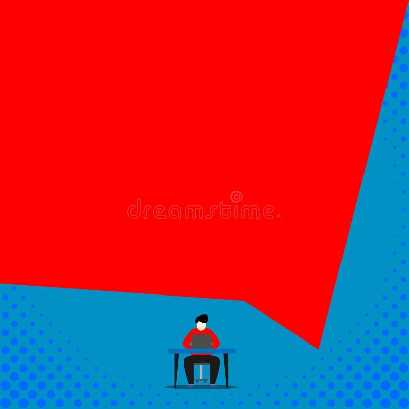Skrivbord f?r stol f?r ung man f?r fr?mre sikt som sittande arbetar geometrisk bakgrund f?r ?ppen b?rbar dator Manligt skriva ner stock illustrationer