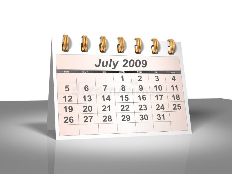 skrivbord juli för kalender 2009 3d royaltyfri illustrationer