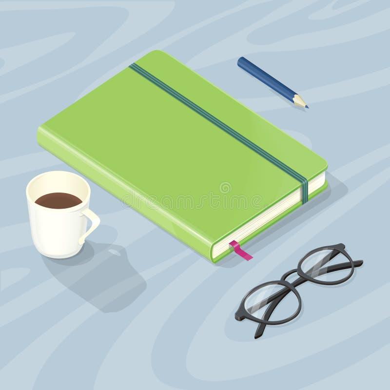 Skrivbord med anmärkningsboken, exponeringsglaspennan och koppen kaffe stock illustrationer