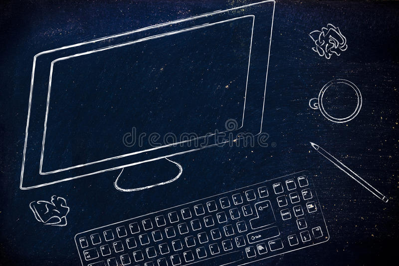 Skrivbord med det datorskärmen, tangentbordet och kaffe fotografering för bildbyråer