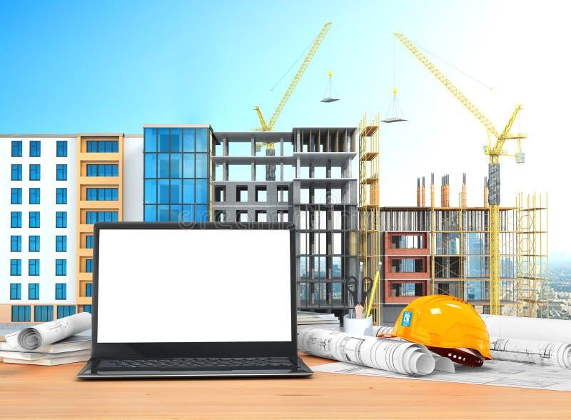 Skrivbord med en öppen bärbar dator, byggnadsritningar i rullar, konstruktionshjälm stock illustrationer