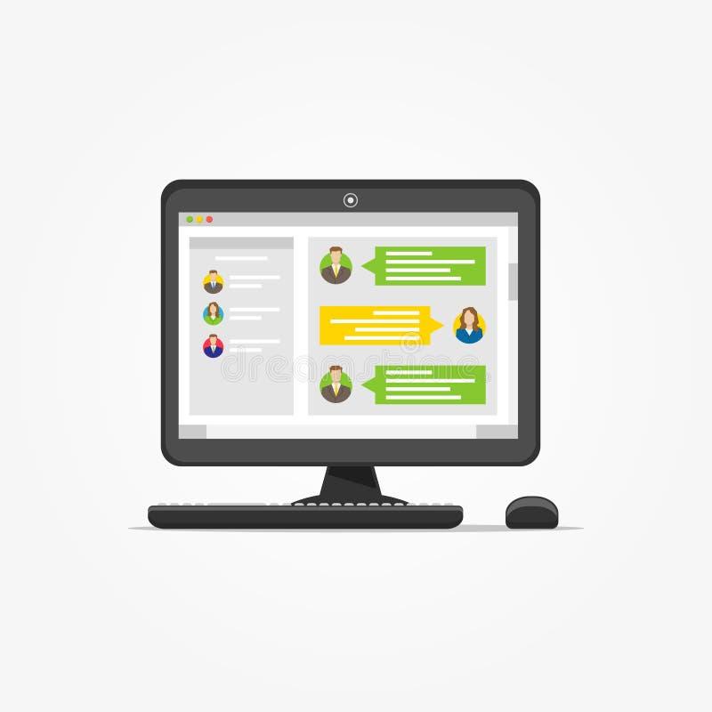 Skrivbord med illustrationen för budbärareapplikationvektor stock illustrationer