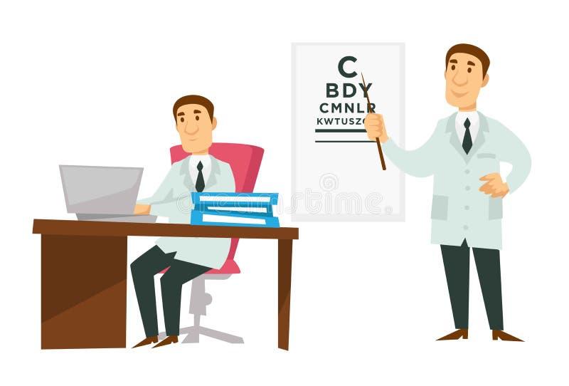 Skrivbord och sikt för doktorsläkare- och ögonläkarearbete som kontrollerar brädet royaltyfri illustrationer