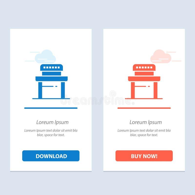 Skrivbord, student, stol, skolablått och röd nedladdning och att köpa nu mallen för rengöringsdukmanickkort vektor illustrationer