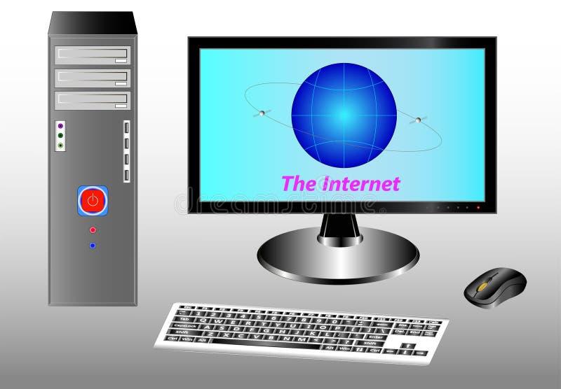 Skrivbord, tangentbord, mus och bildskärm med bilden av jorden och kommunikationssatelliterna stock illustrationer