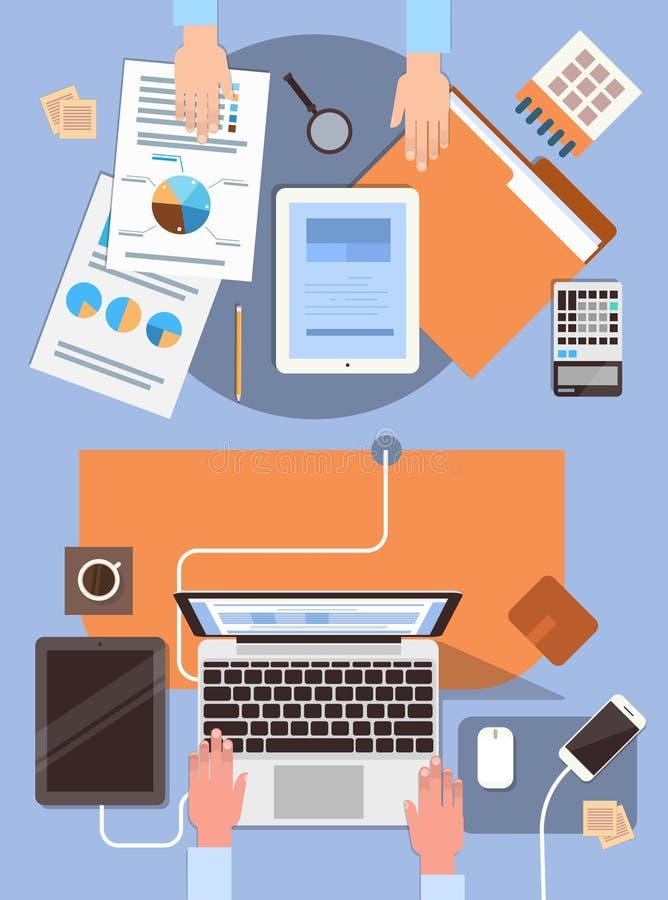 Skrivbordet för arbetsplatsen för affärsfolk räcker den funktionsdugliga bärbar dator- och minnestavladatoren kontoret för sikten vektor illustrationer