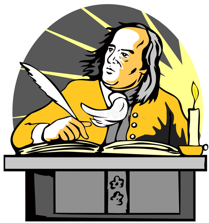 skrivbordgentlemanwriting royaltyfri illustrationer