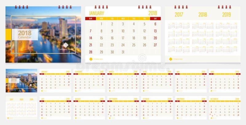 Skrivbordkalender 2018 stock illustrationer