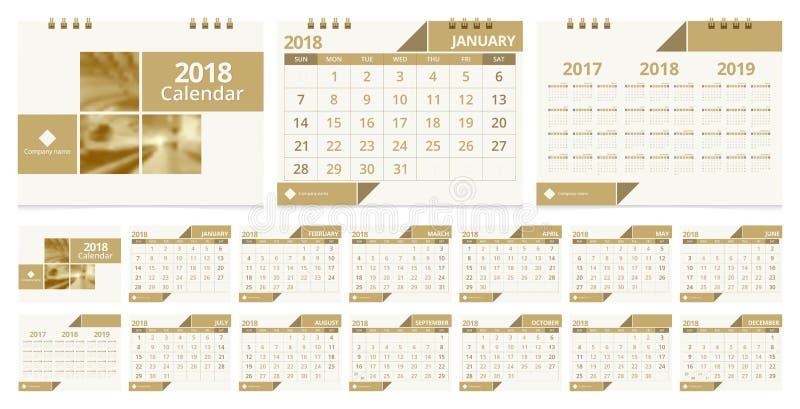 Skrivbordkalender 2018 vektor illustrationer