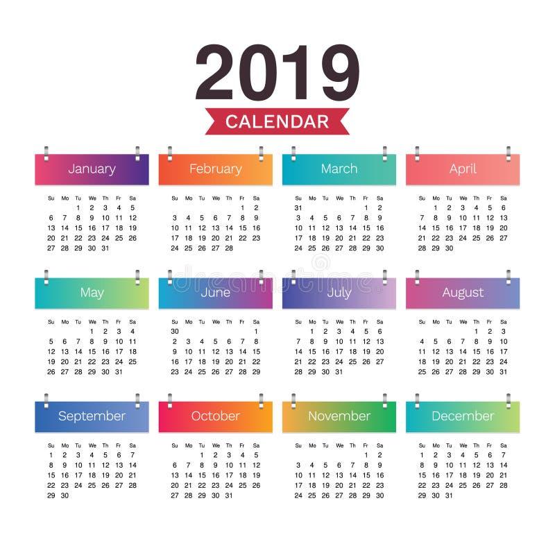 Skrivbordkalender 2019 Enkel färgrik minsta elegant skrivbordkalender stock illustrationer