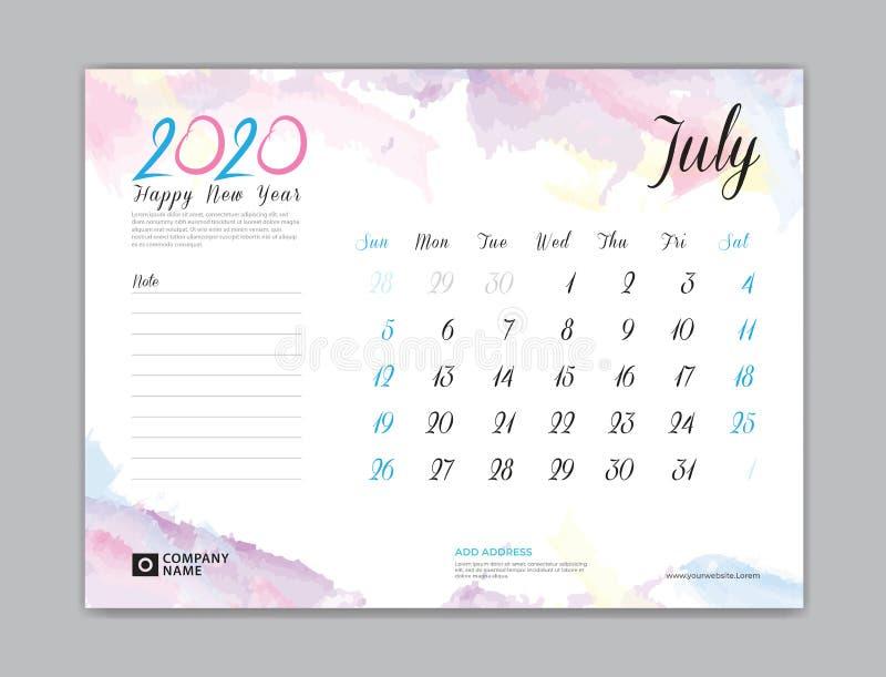 Skrivbordkalender för 2020 år, Juli 2020 mall, veckastart på söndag, stadsplaneraredesign, brevpapper, affär som skrivar ut, vatt royaltyfri illustrationer