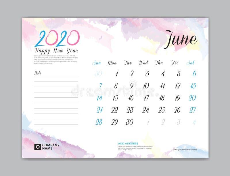 Skrivbordkalender för 2020 år, Juni 2020 mall, veckastart på söndag, stadsplaneraredesign, brevpapper, affär som skrivar ut, vatt stock illustrationer