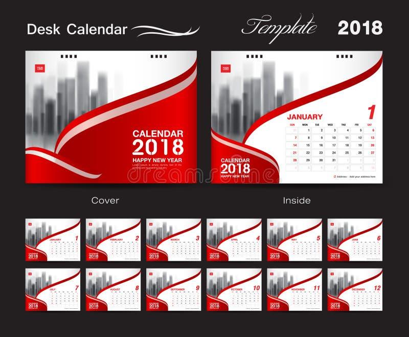 Skrivbordkalender för 2018 år, mall för vektordesigntryck som är röd royaltyfri illustrationer