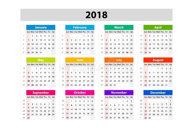 Skrivbordkalender för 2018 år Mall för vektordesigntryck Veckastarter på söndag Kalenderraster med veckanummer royaltyfri illustrationer