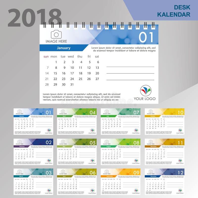 Skrivbordkalender 2018 För skrivbordkalender för enkel färgrik lutning minsta elegant mall i vit bakgrund vektor illustrationer