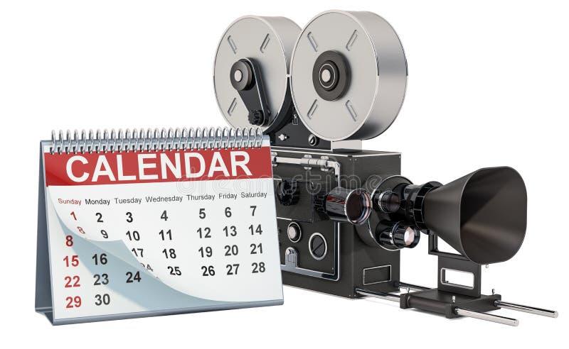 Skrivbordkalender med filmkameran, tolkning 3D royaltyfri illustrationer
