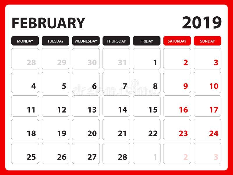 Skrivbordkalendern för den FEBRUARI 2019 mallen, den tryckbara kalendern, stadsplaneraredesignmallen, vecka startar på söndag, br royaltyfri illustrationer