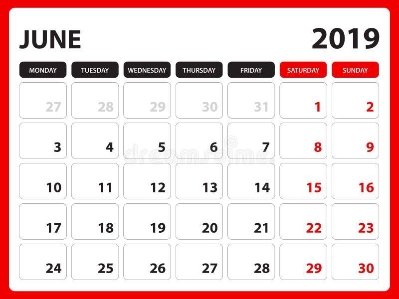 Skrivbordkalendern för den JUNI 2019 mallen, den tryckbara kalendern, stadsplaneraredesignmallen, vecka startar på söndag, brevpa stock illustrationer