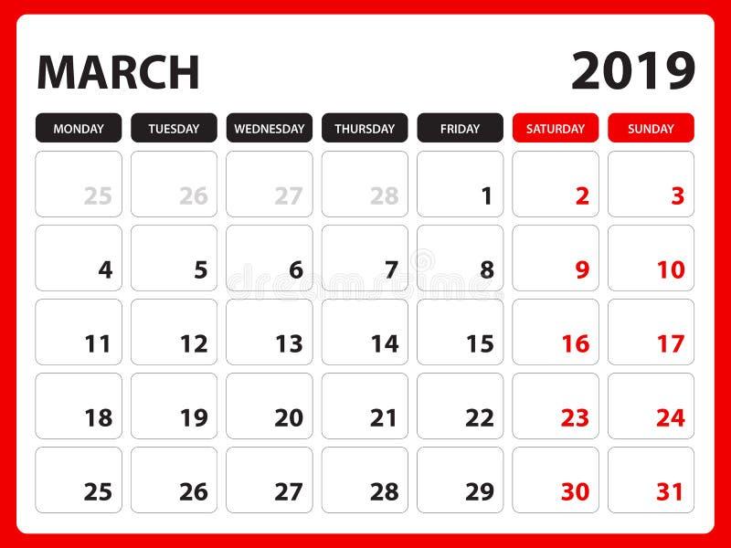 Skrivbordkalendern för mall för MARS 2019, den tryckbara kalendern, stadsplaneraredesignmallen, vecka startar på söndag, brevpapp royaltyfri illustrationer
